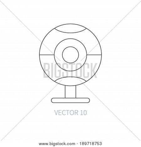 Flat line vector computer part icon webcam. Cartoon style. Illustration, element for your design. Simple. Monochrome. Pc collection. IT. Electronic computing systems. Portable. Data Chip Internet