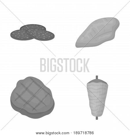 Pieces of salami, turkey fillet, grilled steak, kebab.Meat set collection icons in monochrome style vector symbol stock illustration .