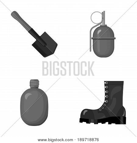 Sapper blade, hand grenade, army flask, soldier s boot. Military and army set collection icons in monochrome style vector symbol stock illustration .