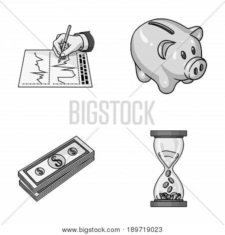 Bank, business schedule, bundle of notes, time money. Money and finance set collection icons in monochrome style vector symbol stock illustration .