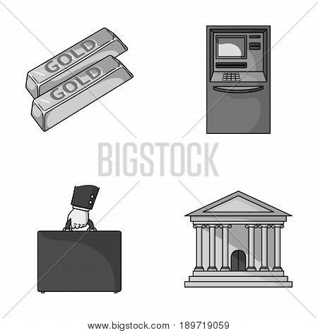 Gold bars, ATM, bank building, a case with money. Money and finance set collection icons in monochrome style vector symbol stock illustration .