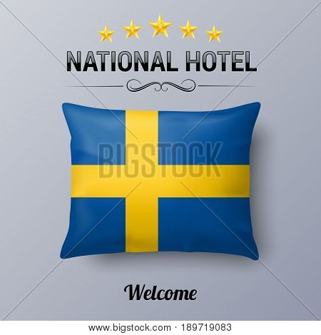 Realistic Pillow and Flag of Sweden as Symbol National Hotel. Flag Pillow Cover with Swedish flag