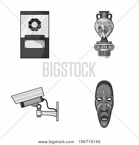 A diamond, a vase on a stand, a surveillance camera, an African mask. Museum set collection icons in monochrome style vector symbol stock illustration .