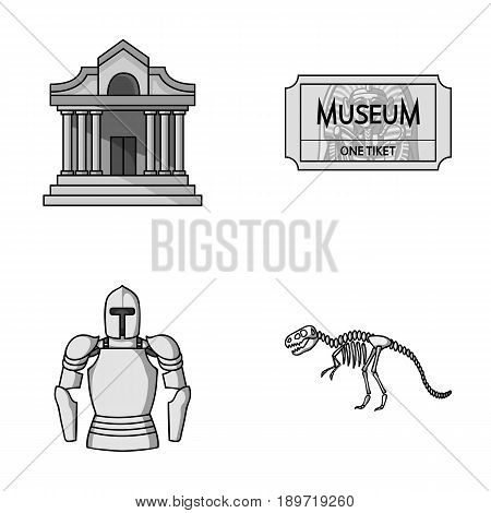 Picture, sarcophagus of the pharaoh, walkie-talkie, crown. Museum set collection icons in monochrome style vector symbol stock illustration .