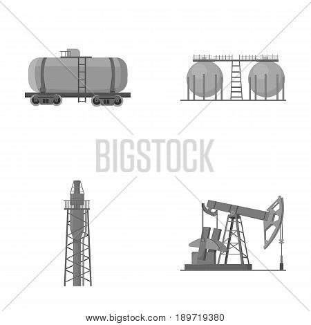 A railway tank, an oil storage, a drilling tower, an oil pump. Oil industry set collection icons in monochrome style vector symbol stock illustration .