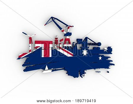 Energy and Power icons set and grunge brush stroke. Energy generation and heavy industry relative image. Flag of the Australia. 3D rendering