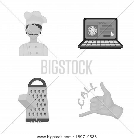 Cook, order by phone, grated cheese, ordering a face gesture.Pizza and pizzeria set collection icons in cartoon style vector symbol stock illustration .