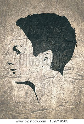 Face side view. Elegant silhouette of a female head. Short hair. Monochrome gamma. Concrete grunge texture