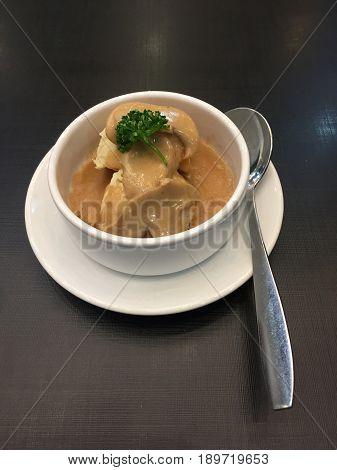 mashed potato with mushroom sauce,mashed potato with mushroom sauce