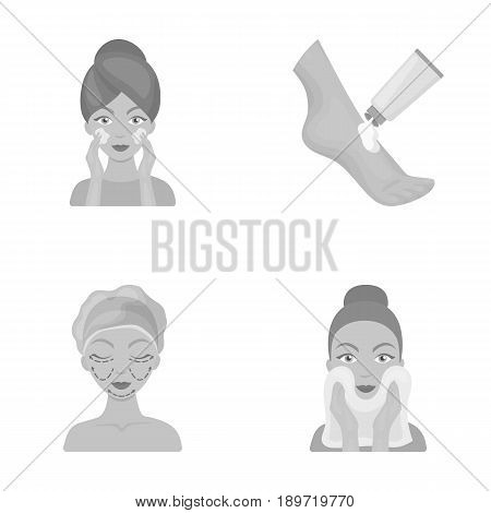 Face care, plastic surgery, face wiping, moisturizing the feet. Skin Care set collection icons in monochrome style vector symbol stock illustration .