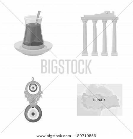 Turkish tea, amulet, ruins of antiquity, map of the territory. Turkey set collection icons in monochrome style vector symbol stock illustration .