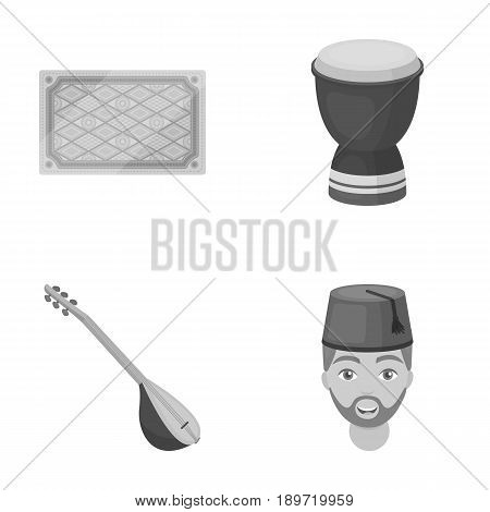 Turkish carpet, saz, drum, turkish men.Turkey set collection icons in monochrome style vector symbol stock illustration .
