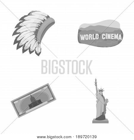 Mohavk, world cinema, dollar, a statue of liberty.USA country set collection icons in monochrome style vector symbol stock illustration .
