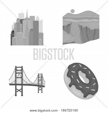 A megacity, a grand canyon, a golden gate bridge, donut with chocolate. The US country set collection icons in monochrome style vector symbol stock illustration .