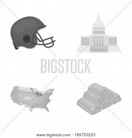 Football player's helmet, capitol, territory map, gold and foreign exchange. USA country set collection icons in monochrome style vector symbol stock illustration .