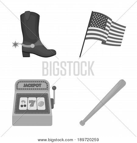 Cowboy boots, national flag, slot machine, baseball bat. USA country set collection icons in monochrome style vector symbol stock illustration .