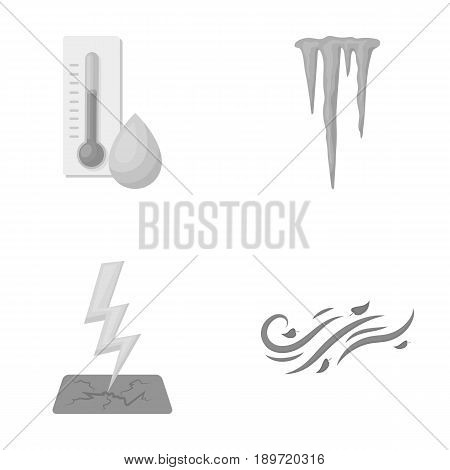 Humidity, icicles, thunderbolt, windy weather. Weather set collection icons in monochrome style vector symbol stock illustration .
