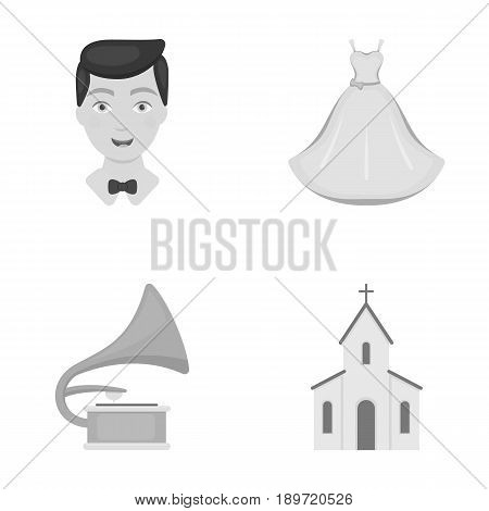 Wedding dress, groom, gramophone, church. Wedding set collection icons in monochrome style vector symbol stock illustration .