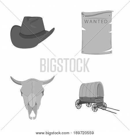 Cowboy hat, is searched, cart, bull s skull. Wild West set collection icons in monochrome style vector symbol stock illustration .