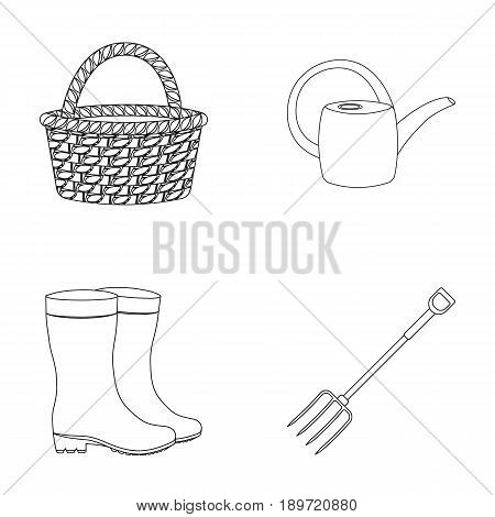 Basket wicker, watering can for irrigation, rubber boots, forks. Farm and gardening set collection icons in outline style vector symbol stock illustration .