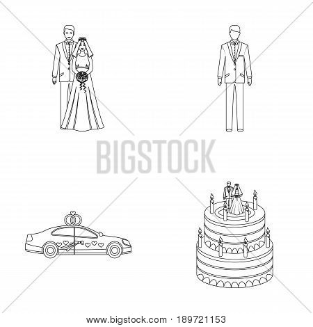A bride and groom in a wedding dress with a bouquet of roses in their hands, a groom in a festive suit, a cadillant of newlyweds decorated with ribbons and hearts, a wedding cake with the bride and groom. Wedding set collection icons in outline style vect