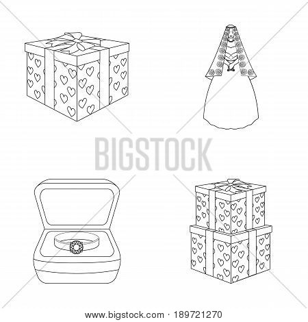 A box with a gift for a wedding, a bride in a veil and a dress, a ring in a diamond engagement ring with a diamond, boxes with gifts. Wedding set collection icons in outline style vector symbol stock illustration .