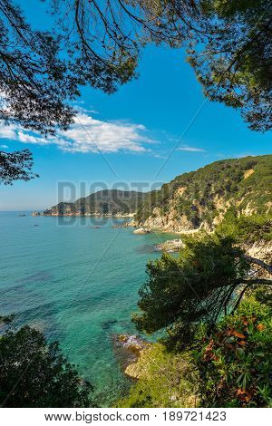 Costa Brava seaview near Lloret de Mar Catalonia Spain.