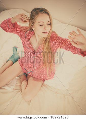 Awaken Woman Stretching Body After Sleeping