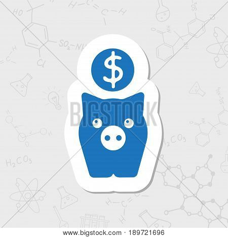 Vector flat sticker pig moneybox icon on white background. Business collection
