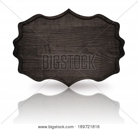 Gray wooden ornate signboard with dark frame and reflection on white background