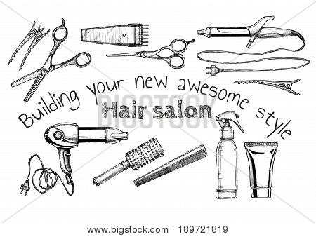 Vector hand drawn illustration of hair salon in vintage engraved style. isolated on white background.