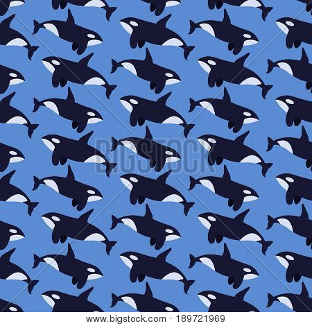 Killer whale seamless vector pattern flat design illustration swatch inside