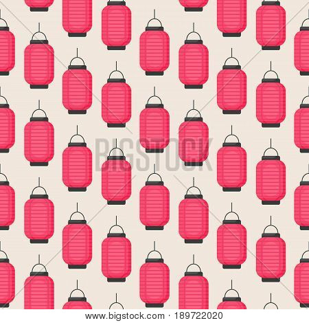 Lantern icon Seamless patern with flat design of Chinese or Japanese red lantern Vector illustration