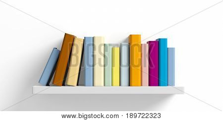 Colored Books On A Shelf On White Background. 3D Illustration
