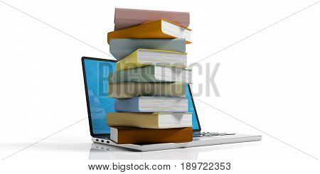 E-learning concept. Books stacked on a laptop on white background. 3d illustration