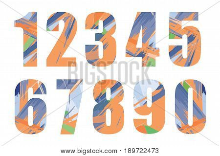 Set of vector numbers, from 1 to 0. Vector illustration. EPS10