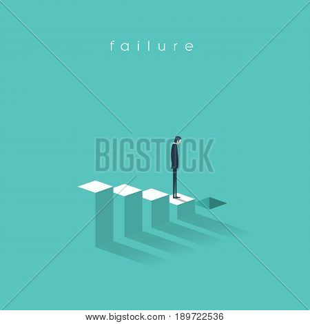 Business failure and bakruptcy vector illustration concept. Businessman on steps leading to stock market crash, crisis, recession, decline. Eps10 vector illustration.