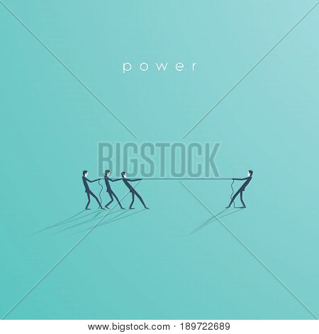 Business tug of war concept vector illustration with one businessman against many. Symbol of leadership, individual strength, power and superiority. Eps10 vector illustration.