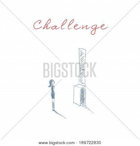 Business challenge vector concept with woman standing in front of door too high. Symbol of businesswoman discrimination, obstacles, overcoming and problem solution. Eps10 vector illustration.
