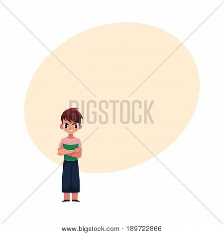 Little boy, child in casual clothes standing with frowned, angry face expression, cartoon vector illustration with space for text. Frowning, irritated, angry boy standing with arms crossed on breast
