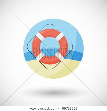 Life buoy ring icon Flat design of swimming safety with round shadow vector illustration
