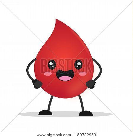 Kawaii drop blood donation. Drop blood comic character. Vector stock.