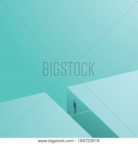 Business risk and challenge concept vector illustration. Businesmsan walking on tightrope as symbol of courage. Eps10 vector illustration.