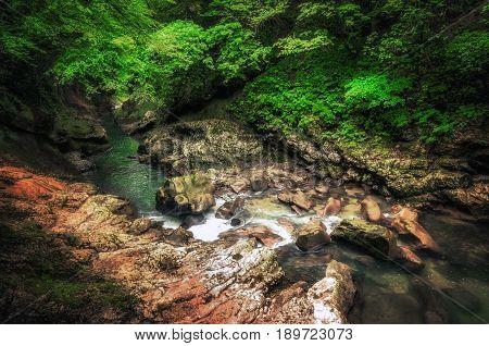 Martvili canyon in Georgia. Beautiful natural canyon with mountain river.