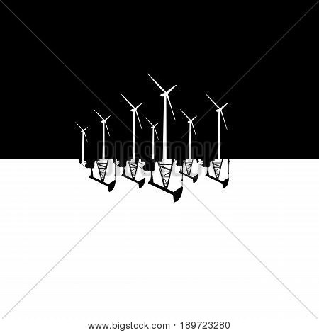 Wind energy versus fossil fuel energy concept vector illustration. Wind farm and oil pumps. Eps10 vector