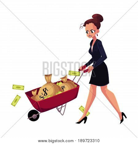 Sad, frustrated woman, girl, businesswoman pushing wheelbarrow with money bags, cartoon vector illustration isolated on white background. Businesswoman, woman, girl pushing wheelbarrow with money bags