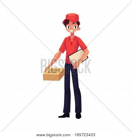 Young courier, delivery service worker standing with clipboard and parcel box, cartoon vector illustration isolated on white background. Full length portrait of young delivery service man