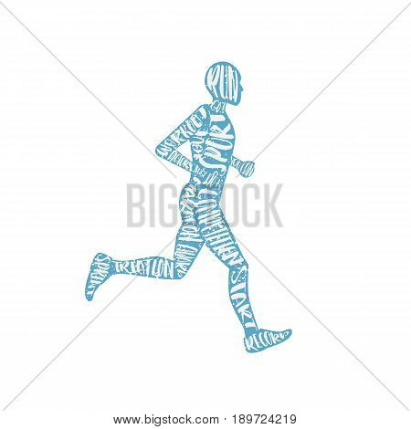 Vector typography poster with training man silhouette. Quote for card. Creative print. The figure a man running motivational poster in conjunction with print composition lettering. Isolated run man.