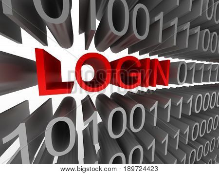 Login in the form of binary code isolated on white background. High quality 3d render.