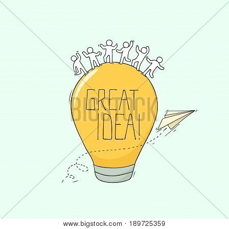 Sketch of working little creative people. Doodle cute miniature scene about Great Idea. Hand drawn cartoon vector illustration for business design and infographic.